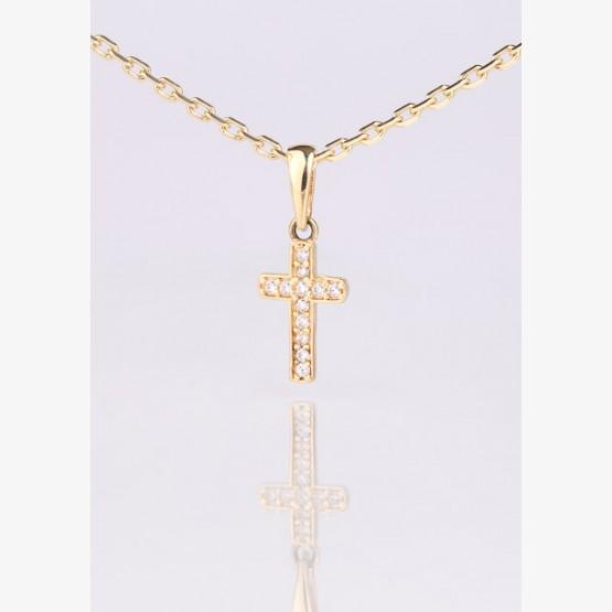 Zlatý prívesok kríž so zirkónovými...