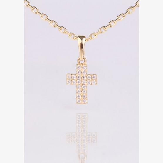 Zlatý prívesok kríž s kamienkami