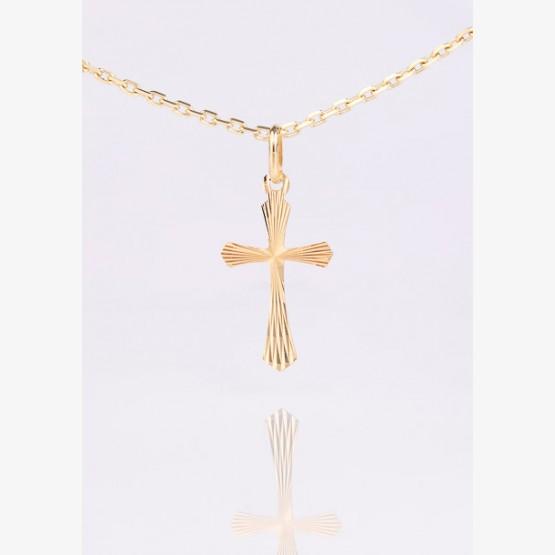 Zlatý prívesok kríž s kónicky...