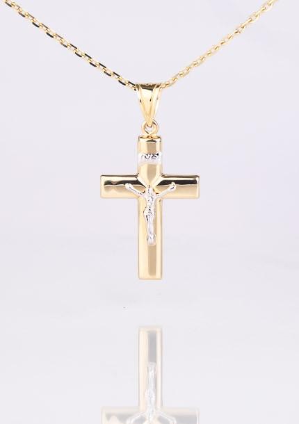 Zlatý prívesok kríž s ukrižovaním