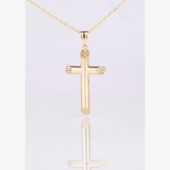 Zlatý prívesok kríž šikmo skosený