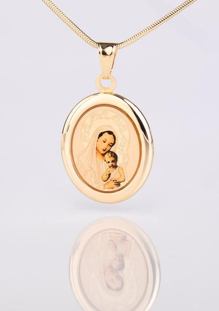 Zlatý medailón Panny Márie s dieťaťom Ježišom / farebné spracovanie